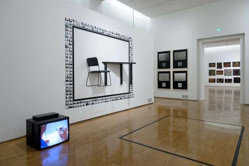 """Ausstellungsansicht """"medienblock-richard-kriesche"""", 2016,"""