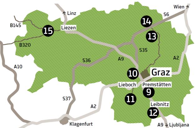 9 Austrian Sculpture Park, 10 Austrian Open-Air Museum Stübing, 11 Hunting Museum and Agriculture Museum Schloss Stainz, 12 Flavia Solva, 13 Rosegger's Birthplace Alpl, 14 Rosegger-Museum Krieglach, 15 Schloss Trautenfels