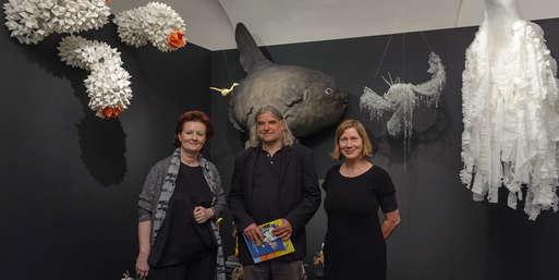 Kuratorin Barbara Kaiser, Autor Heinz Janisch und Gestalterin Luise Kloos,