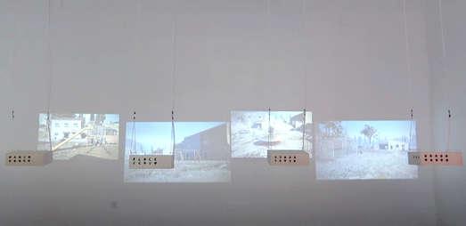 4-Kanal-Videoinstallation, Holzboxen, Seile, Elektromotor, Foto: Leonhard Müllner