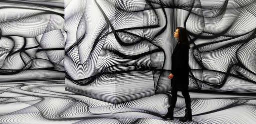 """Peter Kogler, Installationsansicht """"Artists & Robots"""", Grand Palais, Paris, 2018,"""