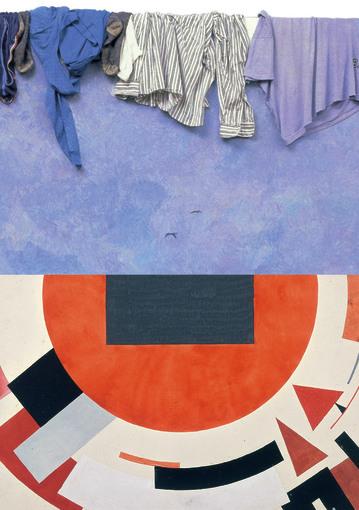 Foto: © Ilya & Emilia Kabakov, ©Bildrecht, Wien 2014; Unten: El Lissitzky, Proun, ca.1922-1923 (Detail), Sammlung Van Abbemuseum, Foto: Peter Cox